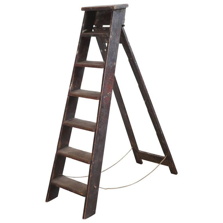 Rustic Seven Step Wooden Ladder 1 Wooden Ladder Ladder Wooden
