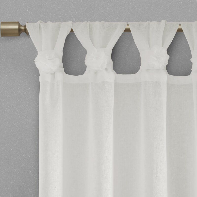 Mysliwiec Floral Twist Solid Semi Sheer Tab Top Single Curtain Panel Curtains Panel Curtains White Paneling