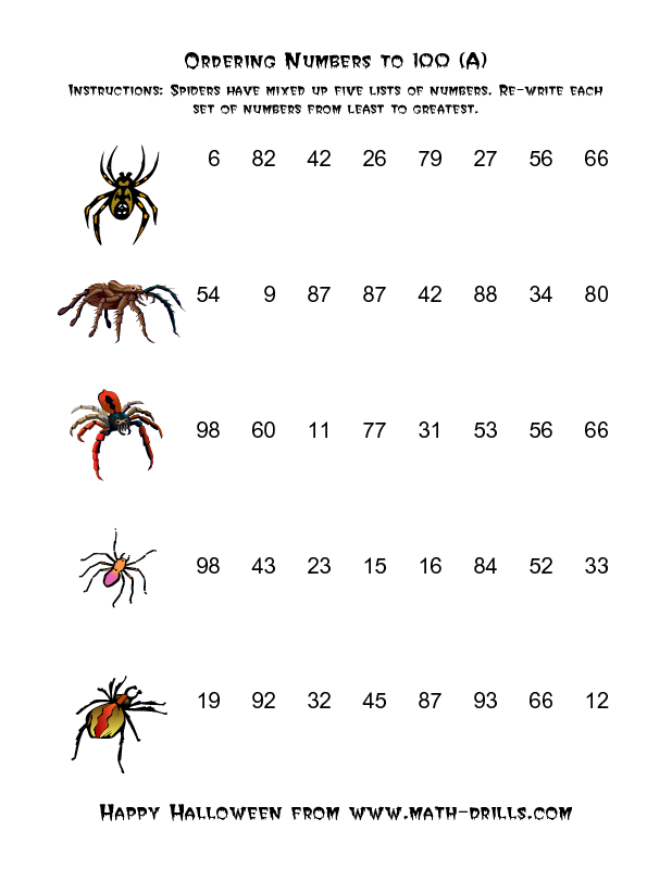 Halloween Math Worksheet Spiders Ordering Numbers to 100 A – Spider Math Worksheets