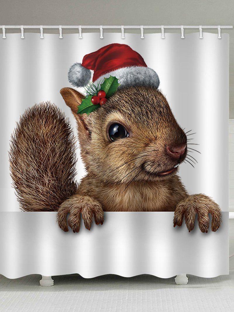 Christmas Squirrel Print Waterproof Bathroom Shower Curtain