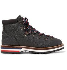 161abaaa917c Moncler Peak Pebble-Grain Leather Hiking Boots