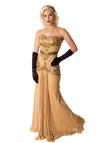 Old Hollywood Glamour Golden Vintage Inspired Evening Gown