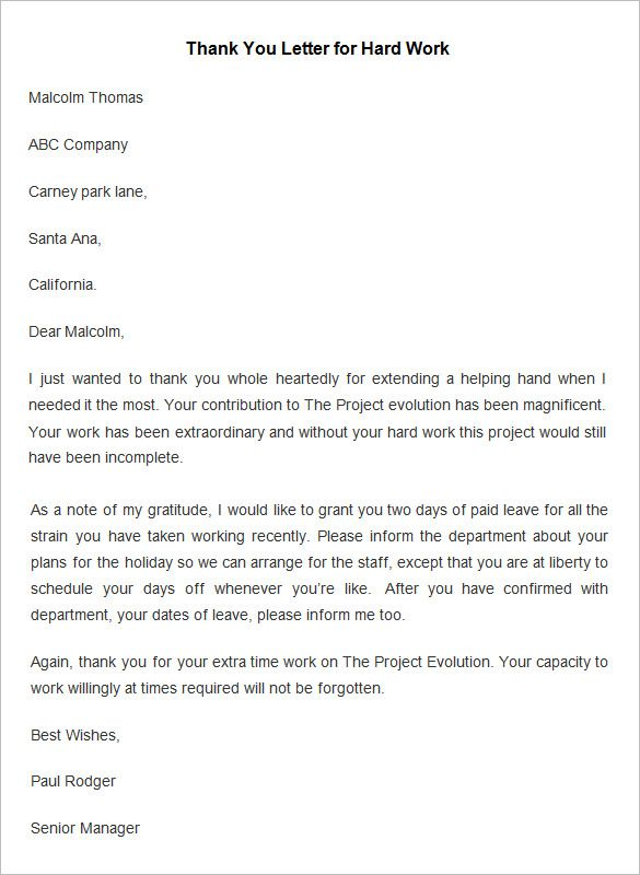 Employee Thank You Letter Template Free Word Pdf Documents For