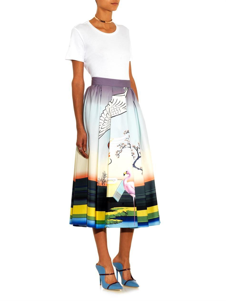 Mary Katrantzou Bowles flamingo-print midi skirt