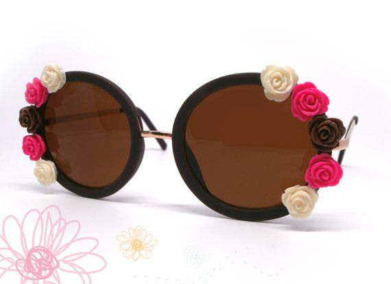 Fashion floral sunglasses. Vintage eyewear. Fashionable summer. Embellished sunglasses. Brown oversized