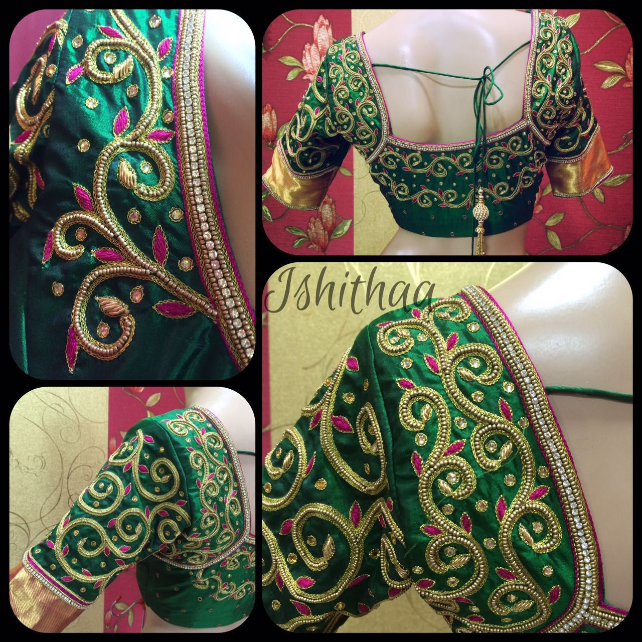 Gorgeous Aari Work Dark Green Blouse Design | Sivakami | Pinterest ...