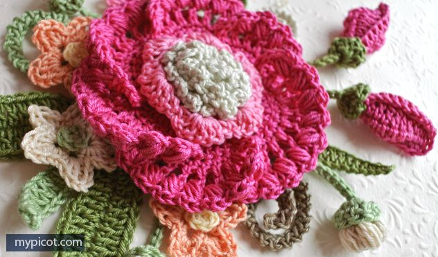 Mypicot Free Crochet Patterns Big Flowers Flowers All