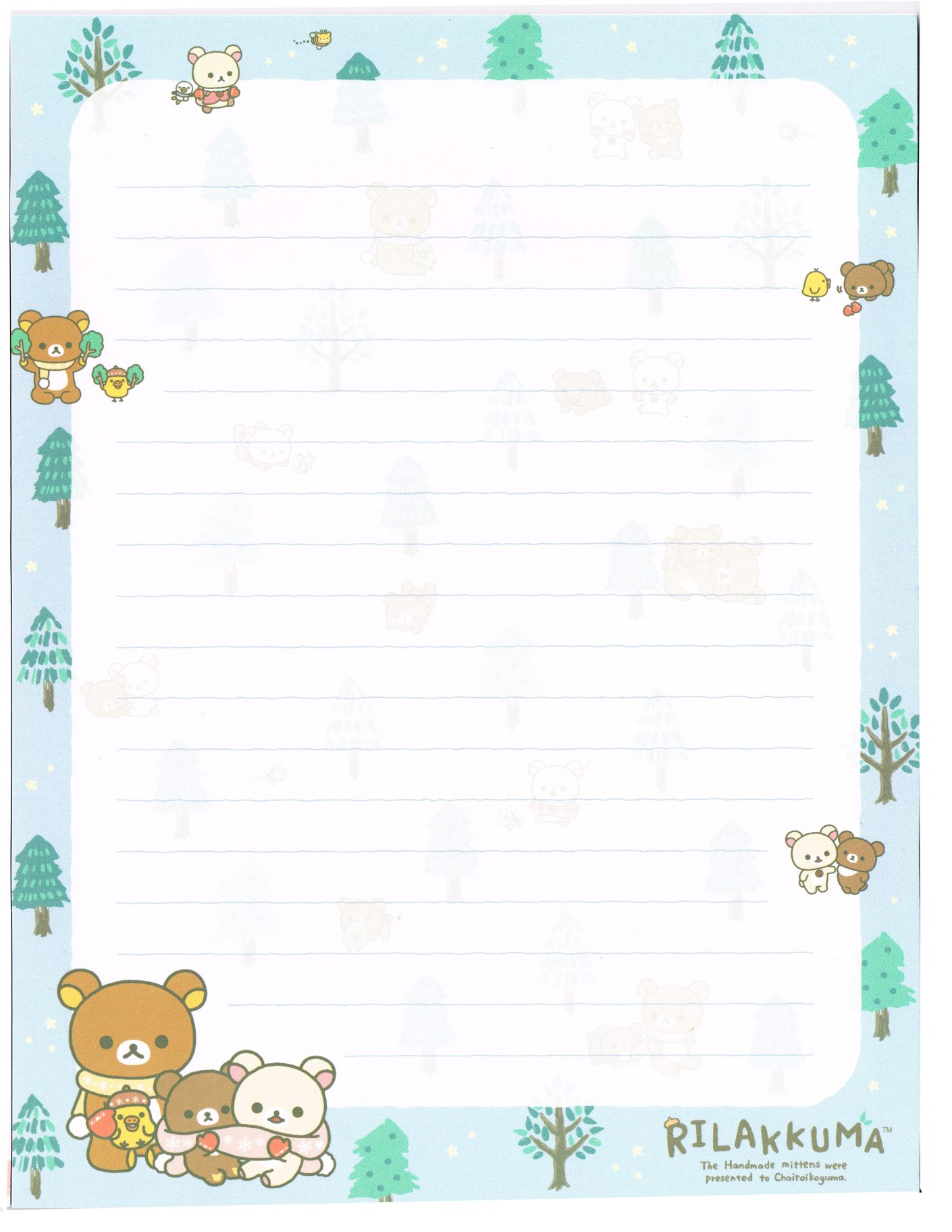 Free Printable Winter Nordic Forest Writing Memo Pad Sheet Rilakkuma チロリアン Writing Paper Printable Writing Paper Printable Free Free Paper Printables