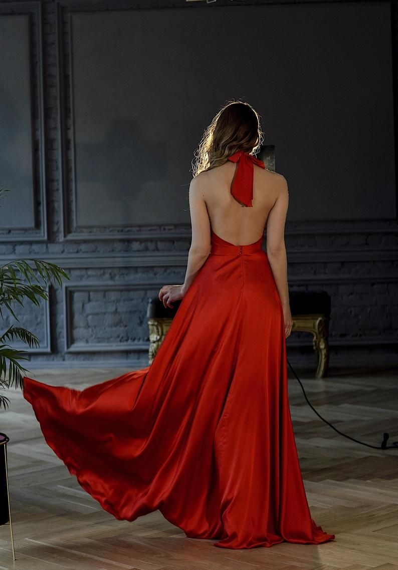 Marry Silk Red Halter Top Dress Formal Red Silk Gown Red Etsy Silk Prom Dress Red Fancy Dress Gowns Of Elegance [ 1138 x 794 Pixel ]