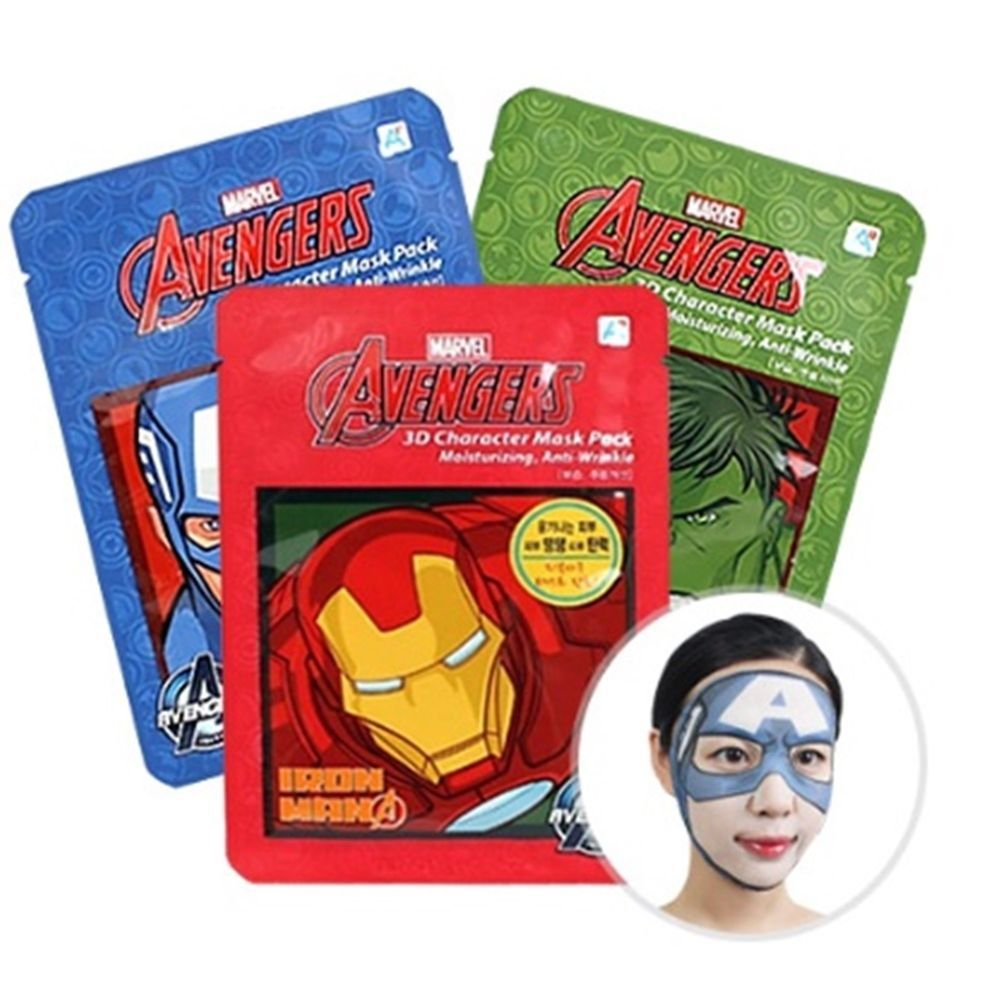 Marvel Avengers 3d Character Face Mask Sheet Pack 5ea 3 Type Secret Key Honey Bee Ac Control Mist 100ml For Sensitive Skin