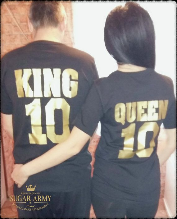 14b109c349b8 King and Queen shirts, King Queen shirts, GOLDEN TEXT, matching couple t  shirts, royalty shirts, tee