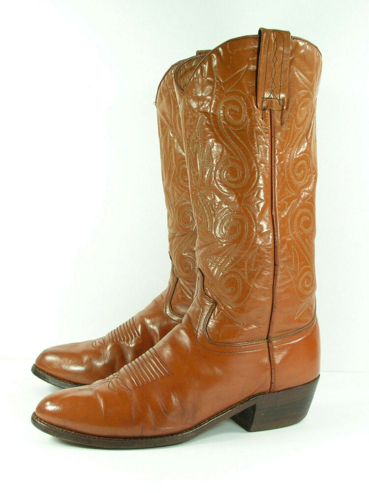 f385ed5b7fb jj sendra cowboy boots mens 9 D brown leather western handmade in ...