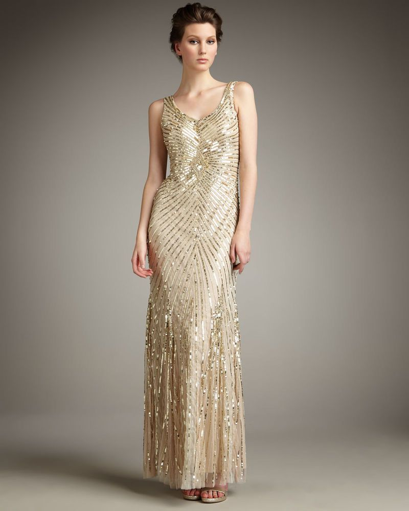 Aidan Mattox Chevron Sequin Gown V-Back Gold | Pinterest | Aidan ...