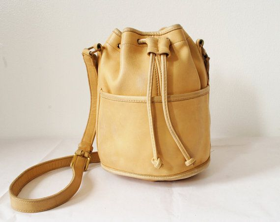 Vintage Coach Bucket Bag Light Yellow Leather Drawstring