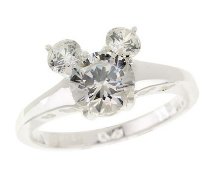 Disney Sterling Diamonique 2.00 ct tw Mickey Mouse Ring | Mickey ...