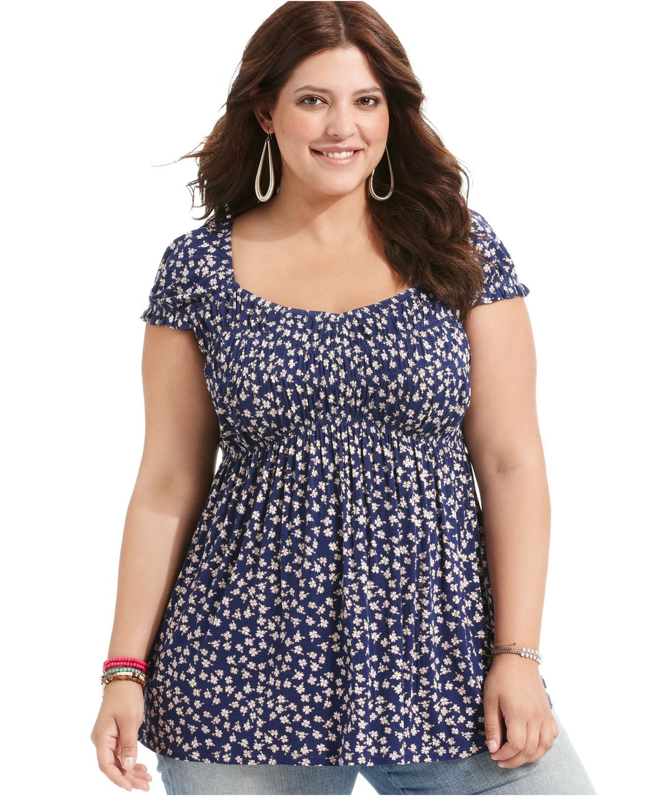 american rag plus size top, short-sleeve floral-print empire