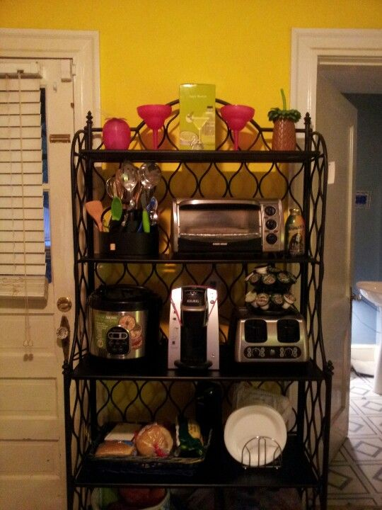 Small Apt Or Dorm Room Small Appliances On A Baker S Rack 3 With