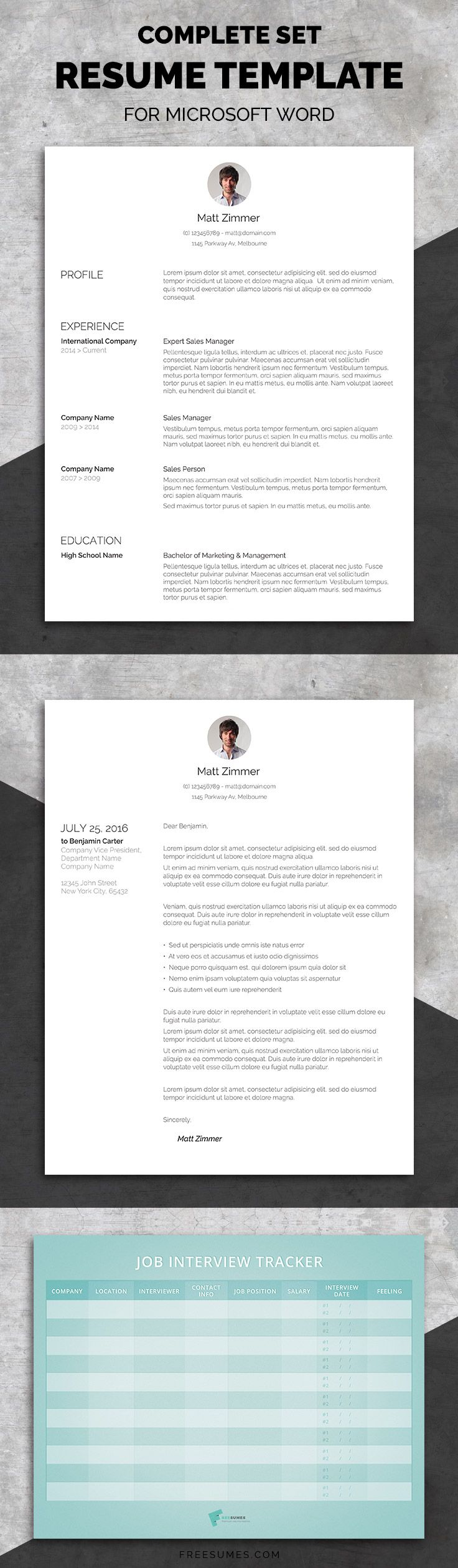 Professional Resume Template Set Professional Resume Template