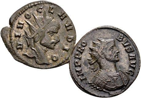 Romeinse Rijk - Lot van 2 AE Antoninianus - Divus Claudius II (gestorven 270 n.Chr.) en Probus (276-282 n.Chr.)  1. Divus Claudius II gestorven 270 n.Chr. AE Antoninianus geslagen na zijn dood en vergoddelijking. DIVO CLAVDIO buste met stralenkroon r.; CONSECRATIO; adelaar staande frontaal kop r. 22mm 206 gram; met resten van verzilvering2. Probus 276-282 n.Chr. AE Antoninianus geslagen in Rome; IMP PROBVS AVG; buste met stralenkroon en kuras r.; VICTORIA AVG; R-krans-S in afsnede; Victoria…