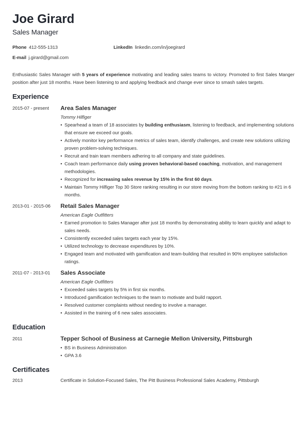 sales manager resume example template minimo in 2020