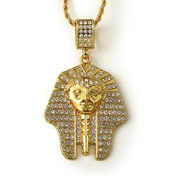 a4151462417ab Men's 24K Pure Gold Plated Egyptian Pharaoh Pendant Necklace | Mens ...