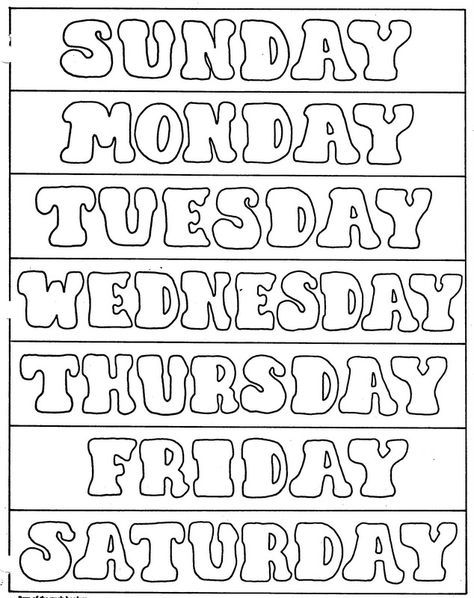 Days Of The Week Printables Elementary School Enrichment Activities