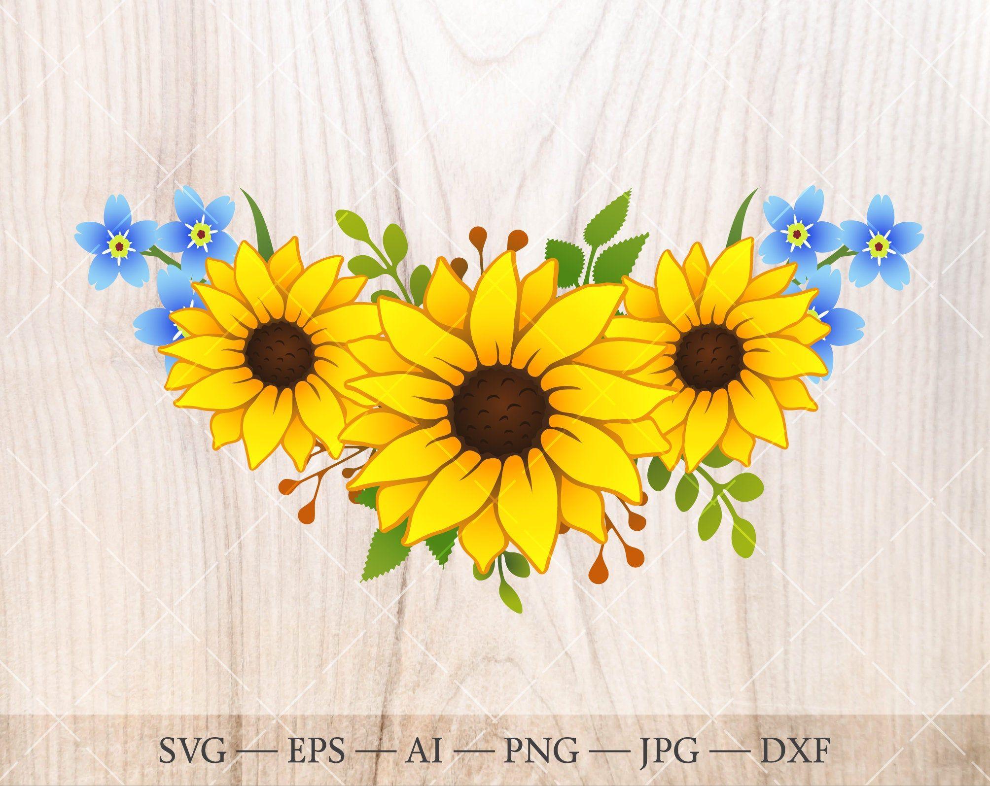 Sunflower Bouquet Svg Sunflower Clipart Floral Frame Wreath