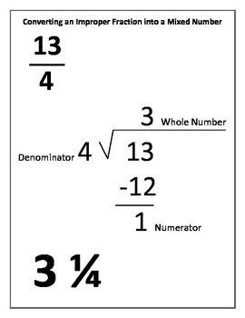 Converting Improper Fractions and Mixed Numbers Study