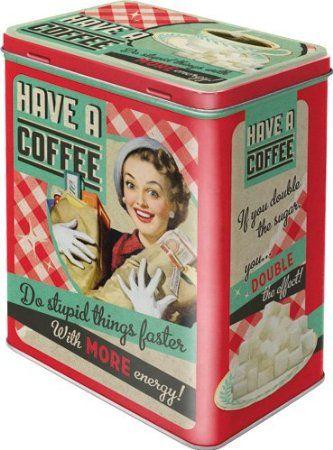 Retro Tin Storage Box L - Have a Coffee: Amazon.co.uk: Kitchen  Home