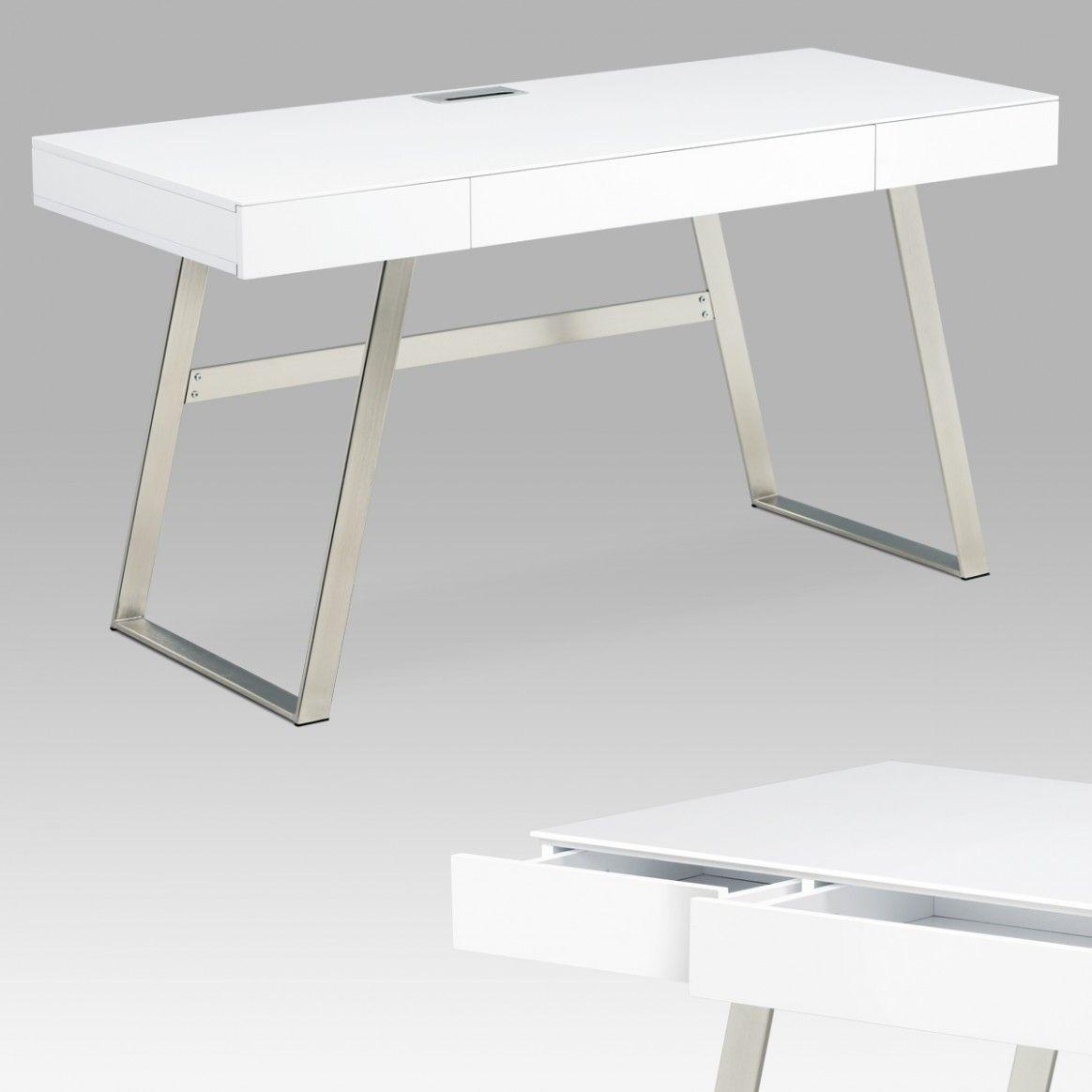 Office Desk White Mdf Matt Brushed Nickel 12 Drawers In 2020 Office Desk White Desks White Desk Office