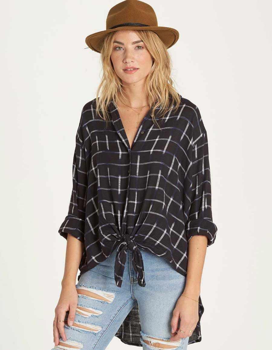 Flannel dress womens  Billabong Cozy Nights Plaid Top for Women in Off Black JMCOZ