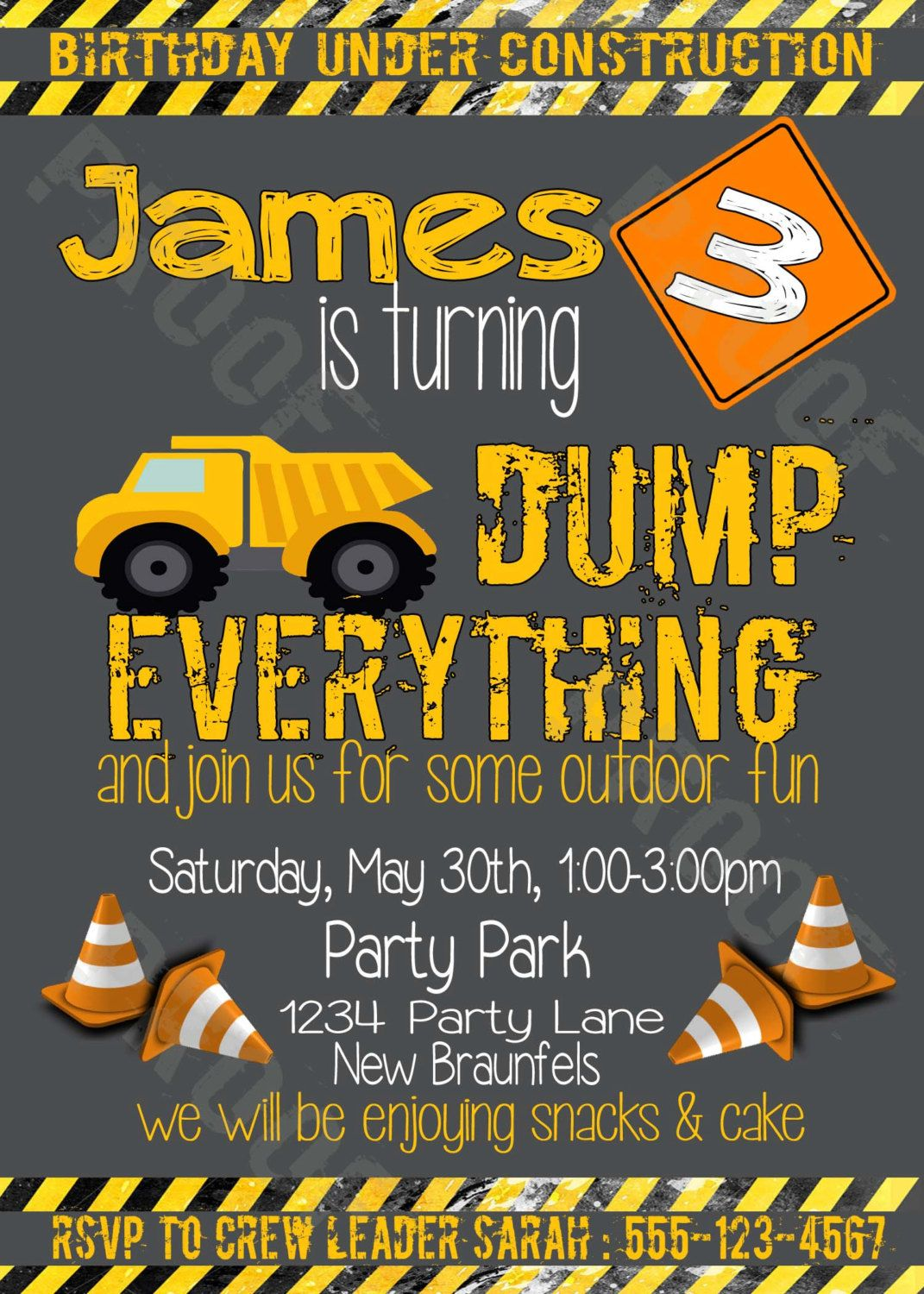 Dump Everything Construction Personalized Kids Party Invitation W FREE 3x5 Insert Printable Digital File By VillaCustomCreations