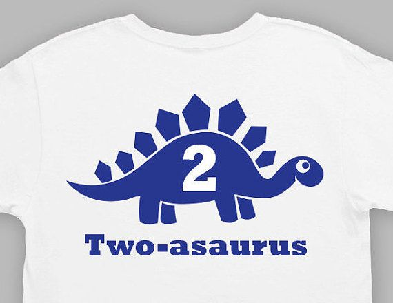 Second Birthday Tshirt 2 Year Old Shirt Dinosaur By WallerTees