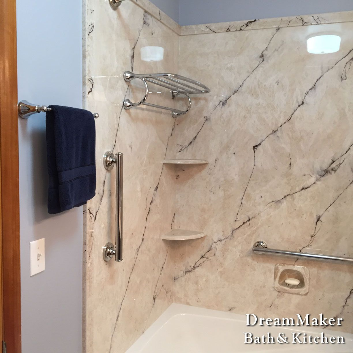 Cultured Marble Tub Shower With Corner Shelving And Grab Bars Cultured Marble Shower Marble Showers Cultured Marble