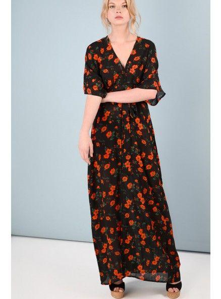 Black Spanish floral kimono style maxi dress