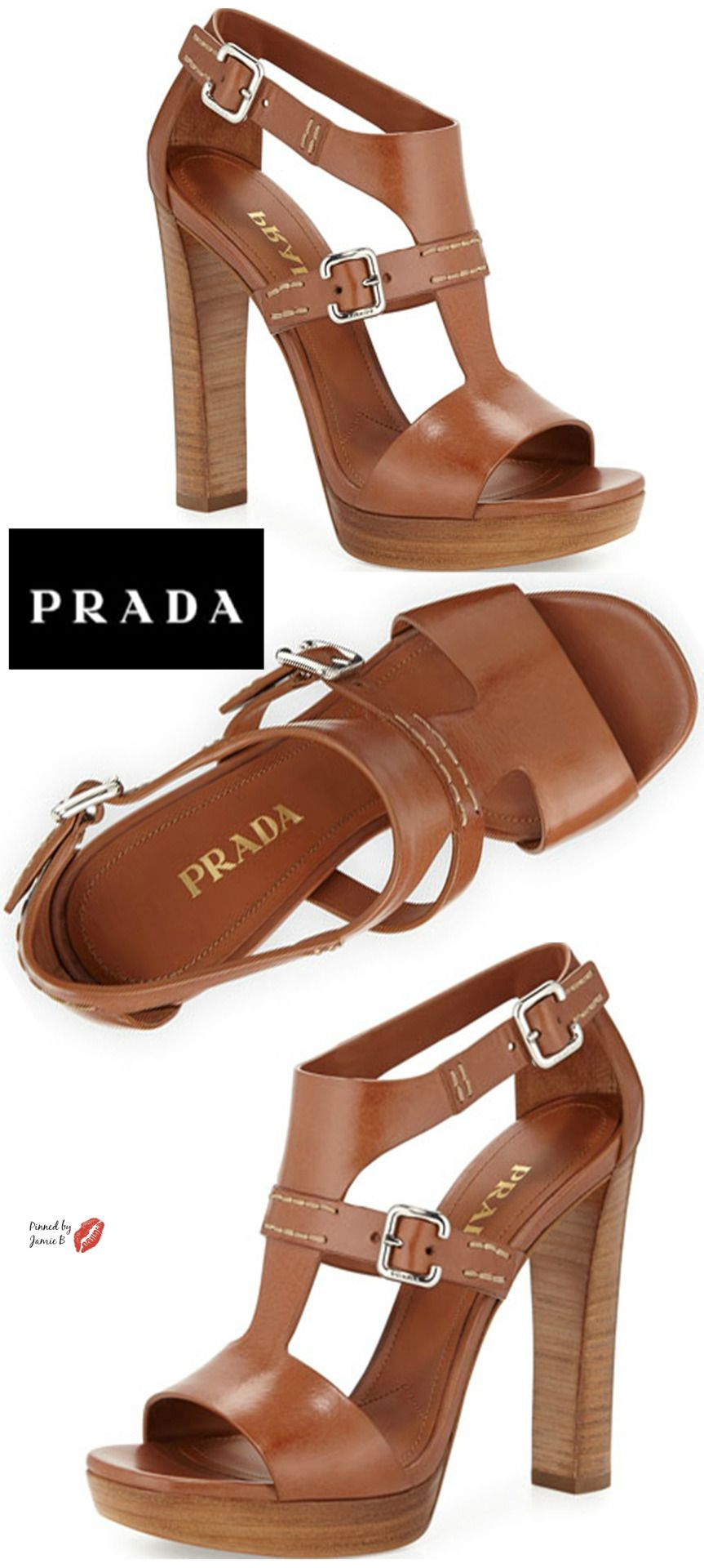 blessedshoegirl2: Prada   Leather T-Strap Sandal   Jamie B