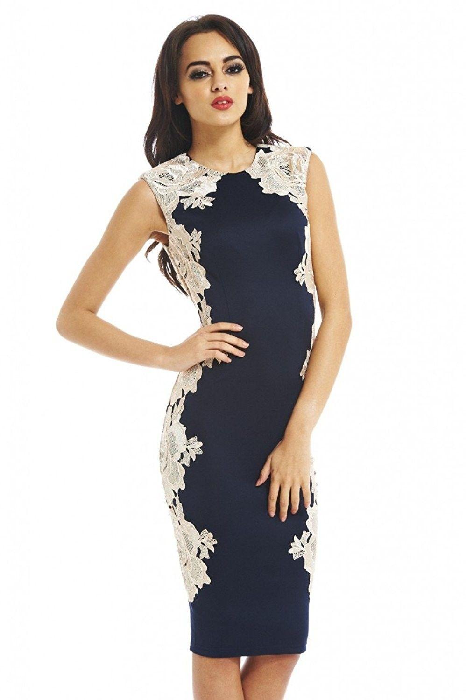 8f233242e6b AX Paris Women s Lace Side Bodycon Dress - Blue White - C611JIJ8KV7 ...