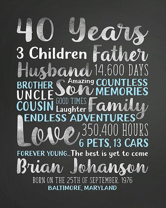 40 Jahre Individuelles Geschenk Fur Den Mann Am Geburtstag 40
