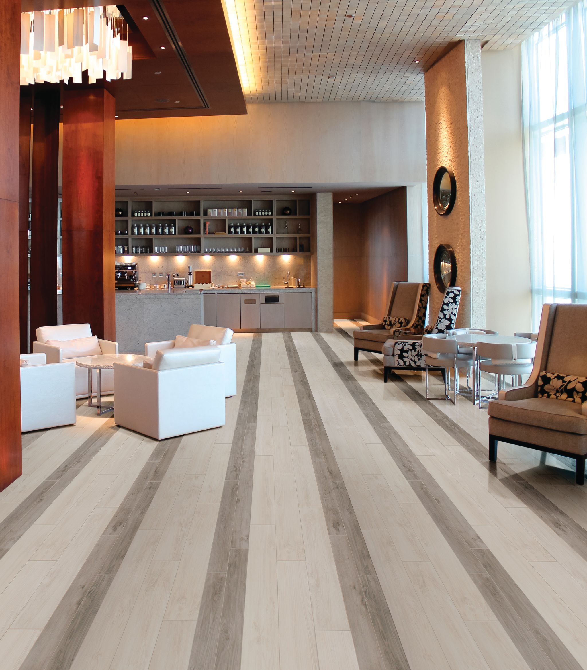 Photo features Forest Park by Daltile in White Oak 9x36