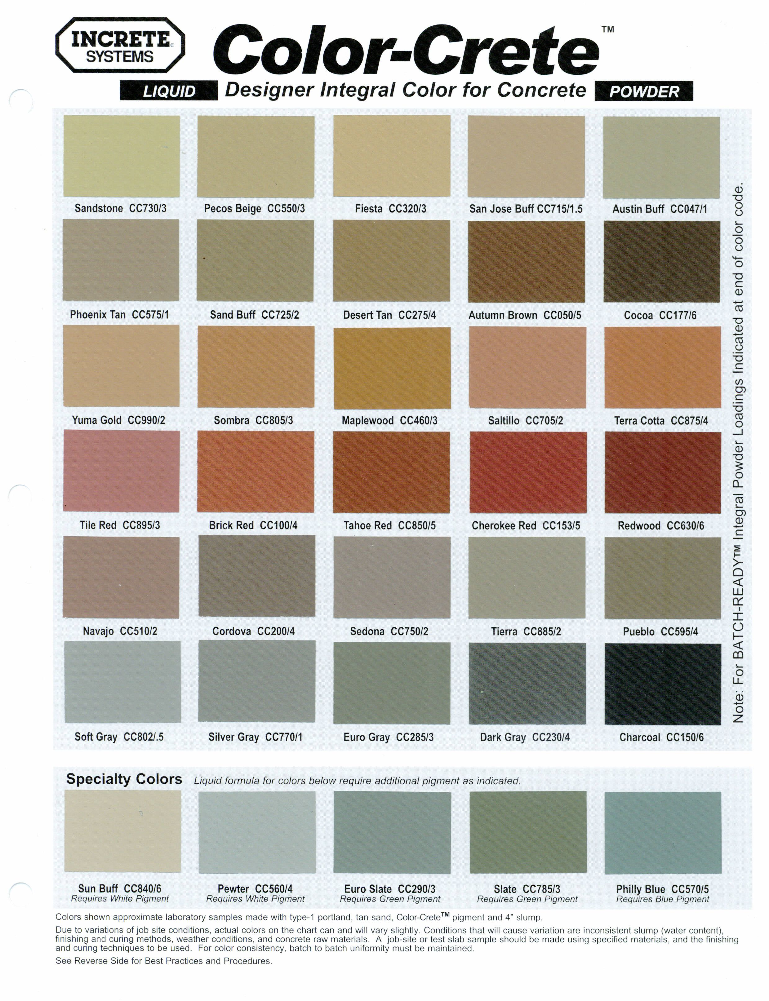 Concrete Stamping Color Chart Lisa Garden Concrete