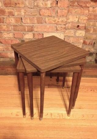 3 Vintage 60s Mid Century Modern Walnut Stacking Tables ...