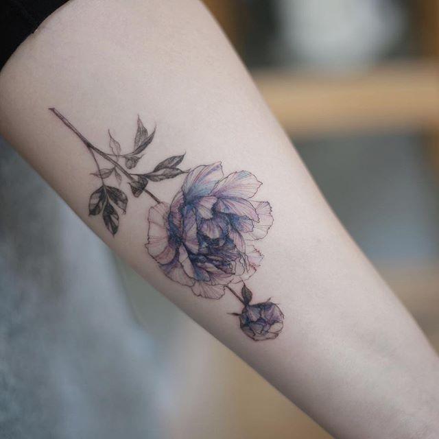 peony . .  #tattooistflower #tattoo#tattoos #flowertattoo #colortattoo #europetattoo #rosetattoo#peony#peonytattoo #타투이스트꽃 #타투 #컬러타투 #꽃타투 #장미타투