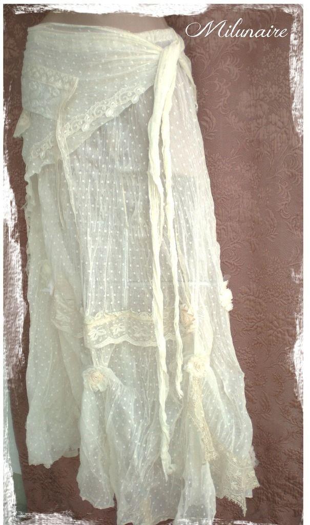 jupe boh me longue dentelles cru ivoire beige cr me tulle jupe boheme dentelle et jupe. Black Bedroom Furniture Sets. Home Design Ideas