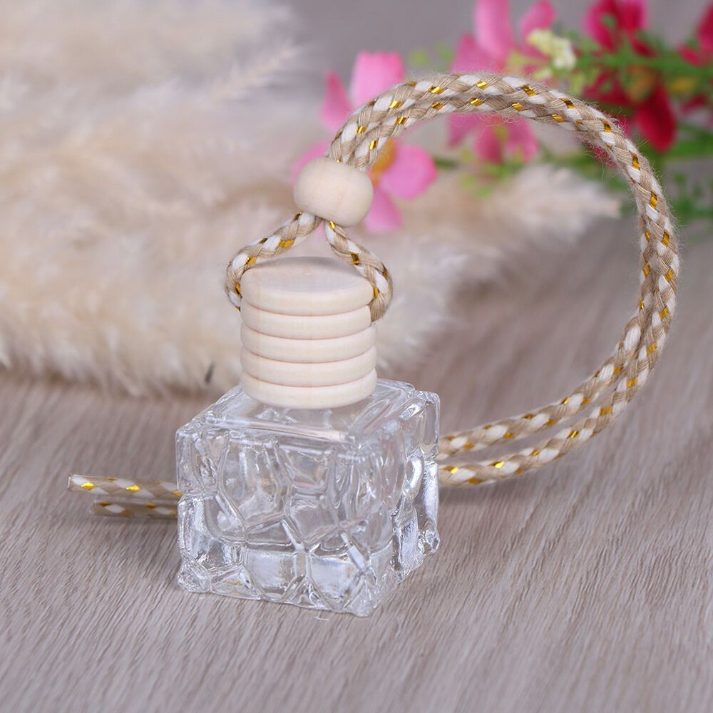 1pc Car 10ml Square Hanging Empty Glass Perfume Bottles Pendant Car Ornament Ep Fashion Home Garden Home Glass Perfume Bottle Perfume Bottles Car Ornaments