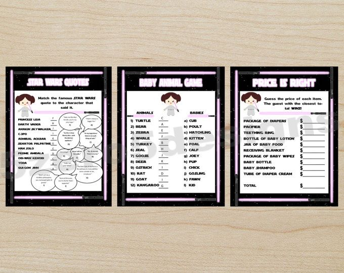 Star Wars Baby Shower Games/ Set Of 3/ Whatu0027s In Your