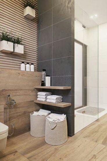 #Fliesen in #Steinoptik in #anthrazit harmonieren sehr gut mit warmen #Fliesen i … – Fliesenmix: Werde kreativ! – Badezimmer