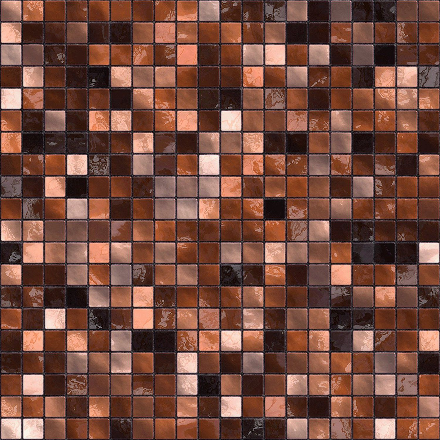 30 Copper Brown Self Adhesive Mosaic Wall Tile Decals