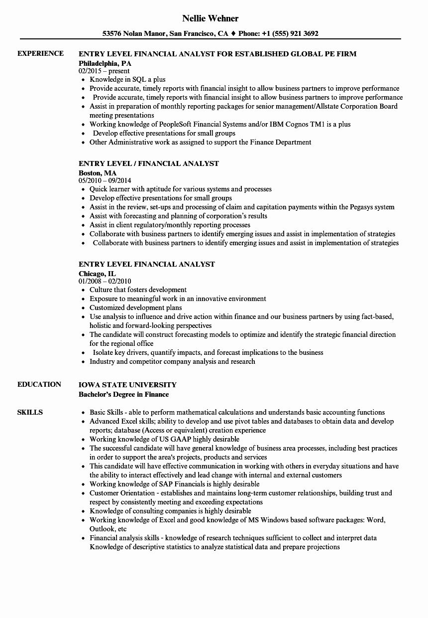 Entry Level Financial Analyst Resume Awesome Entry Level