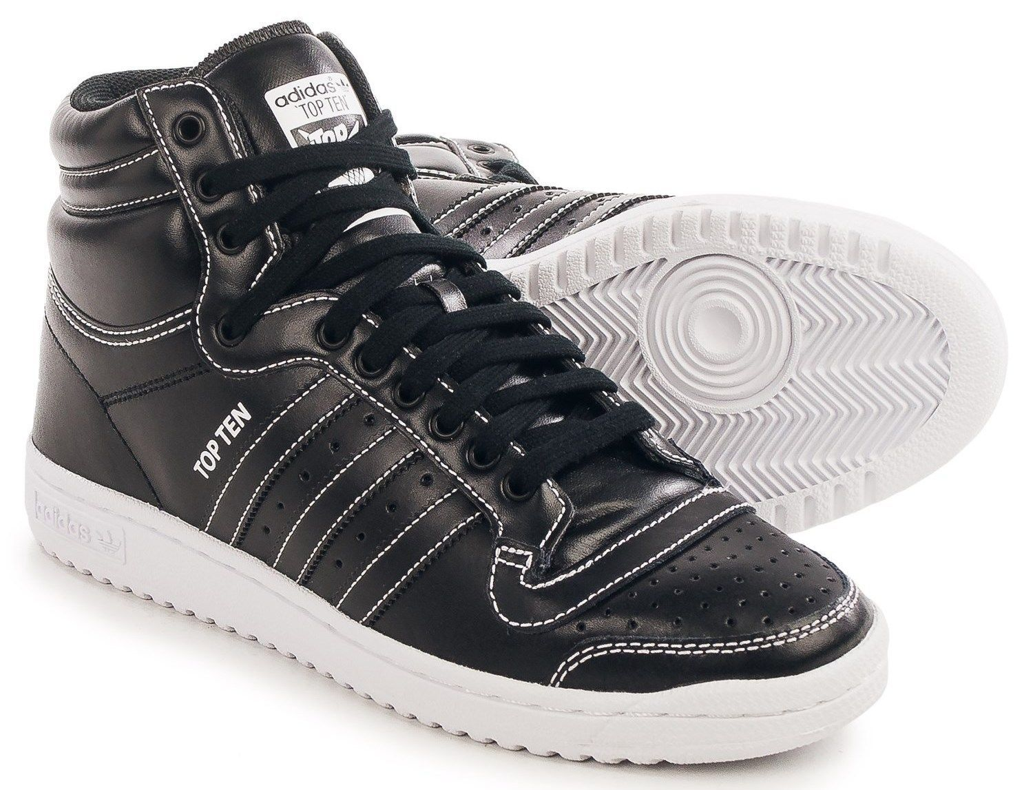 ADIDAS TOP TEN HI MENS BASKETBALL SHOE BLACK WHITE AUTHENTIC NEW IN BOX US SZ