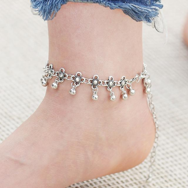 IF ME Boho Bohemia Alloy Chain Link Anklet Flower Pendant Summer Beach  Ankles Foot Bracelet New Fashion Foot Jewelry For Women c2e59903d1e6
